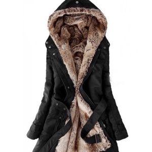Jackets & Blazers - Black Faux Fir Coat